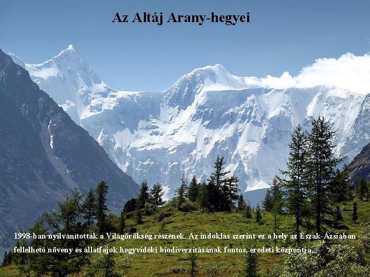 Az Altáj Arany-hegyei 1998 -ban nyilvánították a Világörökség részének. Az indoklás szerint ez a