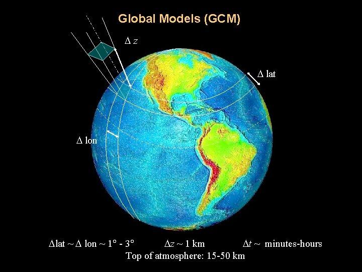 Global Models (GCM) z lat lon lat ~ lon ~ 1 - 3 z