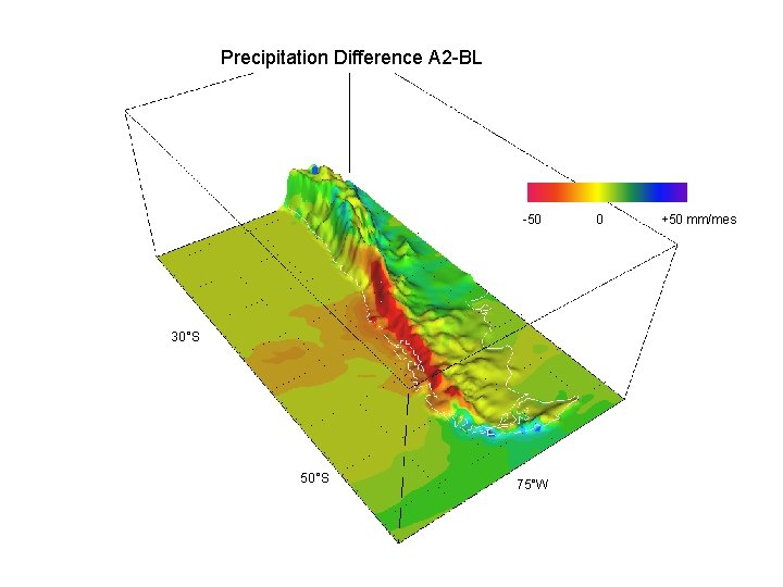 Precipitation Difference A 2 -BL -50 30°S 50°S 75°W 0 +50 mm/mes
