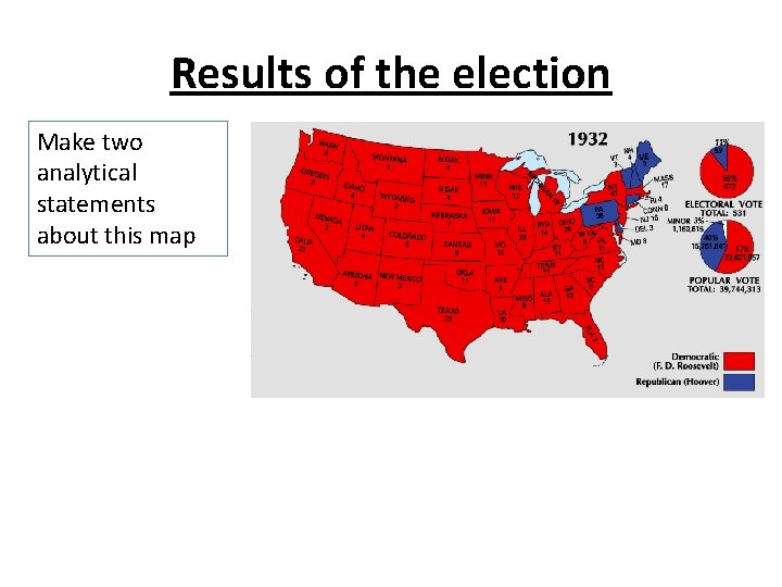 Results of the election Make two analytical statements about this map