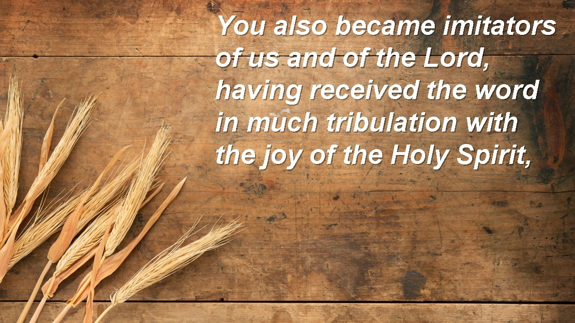 You also became imitators of us and of the Lord, having received the word
