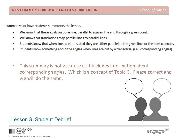 NYS COMMON CORE MATHEMATICS CURRICULUM A Story of Ratios • This summary is not