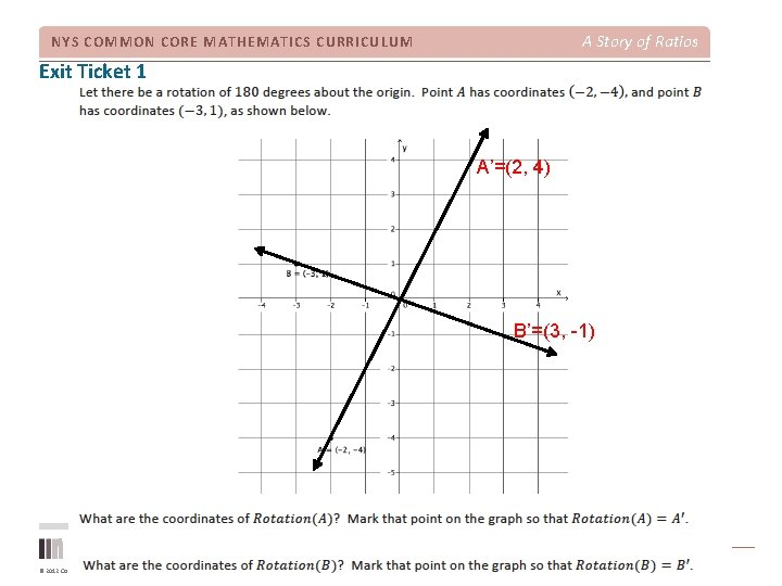 A Story of Ratios NYS COMMON CORE MATHEMATICS CURRICULUM Exit Ticket 1 A'=(2, 4)