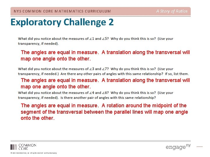 NYS COMMON CORE MATHEMATICS CURRICULUM A Story of Ratios Exploratory Challenge 2 The angles