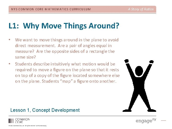 NYS COMMON CORE MATHEMATICS CURRICULUM L 1: Why Move Things Around? • We want