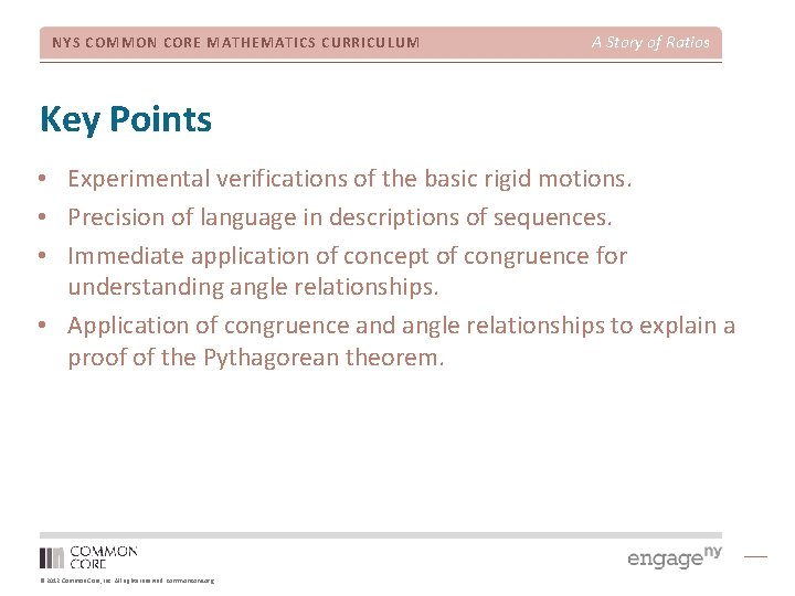 NYS COMMON CORE MATHEMATICS CURRICULUM A Story of Ratios Key Points • Experimental verifications