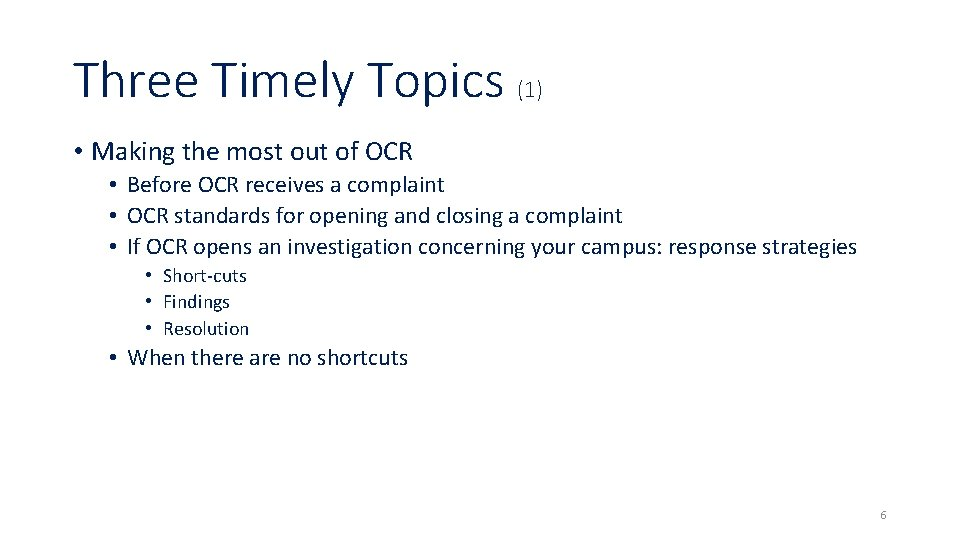 Three Timely Topics (1) • Making the most out of OCR • Before OCR
