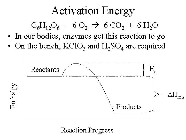 Activation Energy C 6 H 12 O 6 + 6 O 2 6 CO