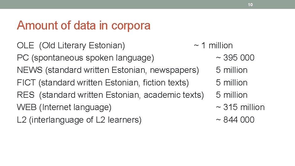 10 Amount of data in corpora OLE (Old Literary Estonian) ~ 1 million PC
