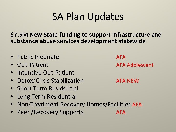 SA Plan Updates $7. 5 M New State funding to support infrastructure and substance