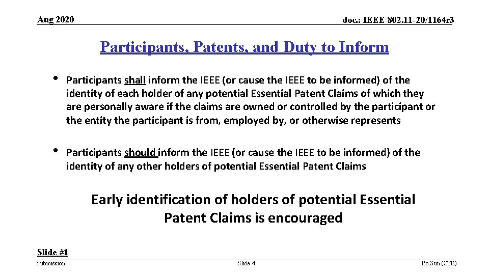 Aug 2020 doc. : IEEE 802. 11 -20/1164 r 3 Participants, Patents, and Duty