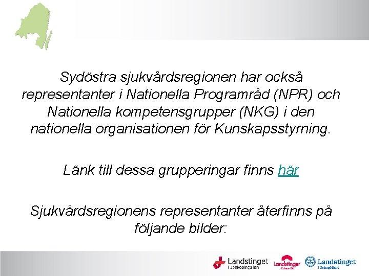 Sydöstra sjukvårdsregionen har också representanter i Nationella Programråd (NPR) och Nationella kompetensgrupper (NKG) i
