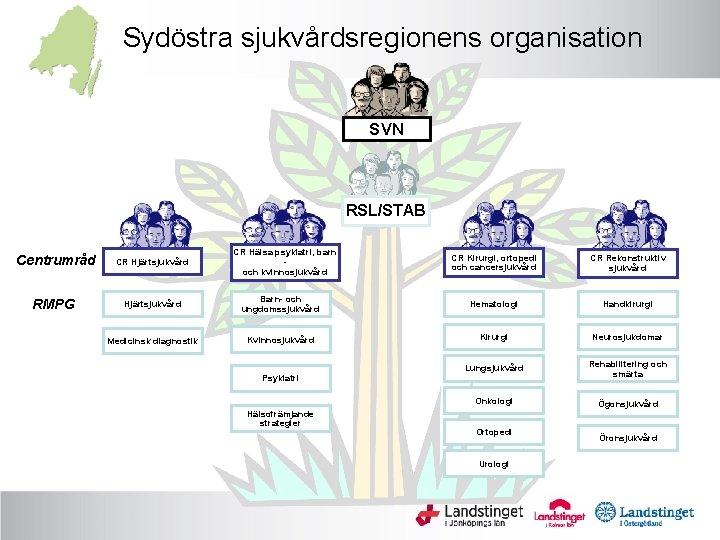 Sydöstra sjukvårdsregionens organisation SVN RSL/STAB Centrumråd CR Hjärtsjukvård RMPG Hjärtsjukvård Medicinsk diagnostik CR Hälsa