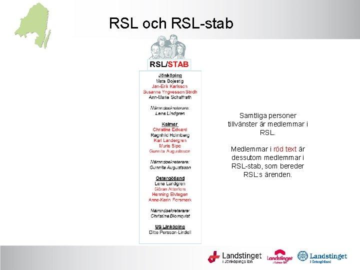 RSL och RSL-stab Samtliga personer tillvänster är medlemmar i RSL. Medlemmar i röd text