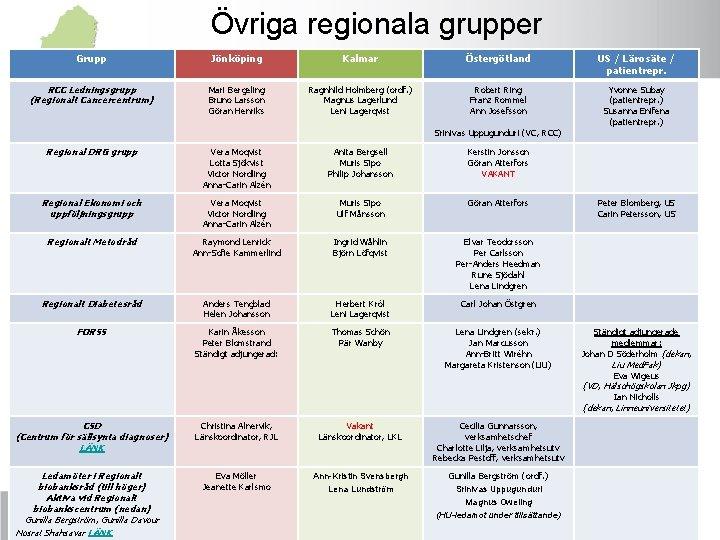 Övriga regionala grupper Grupp Jönköping Kalmar Östergötland US / Lärosäte / patientrepr. RCC Ledningsgrupp