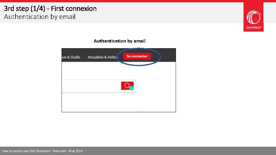 3 rd step (1/4) - First connexion Authentication by email How to access Lexis