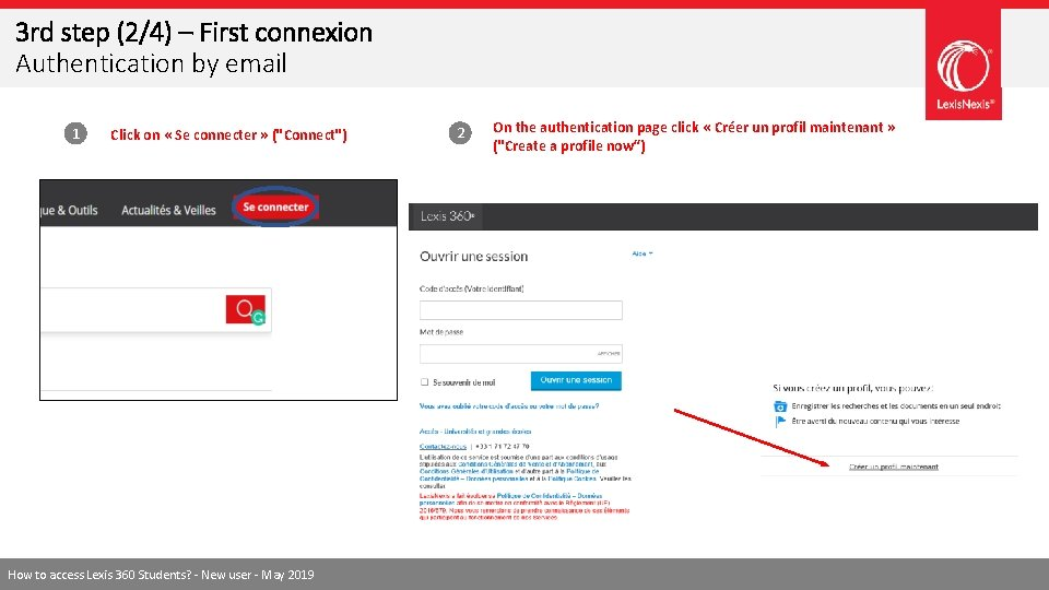 3 rd step (2/4) – First connexion Authentication by email 1 Click on «
