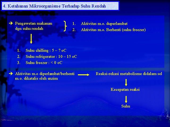 4. Ketahanan Mikroorganisme Terhadap Suhu Rendah Pengawetan makanan dgn suhu rendah 1. 2. 3.