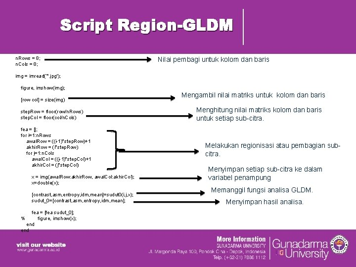 Script Region-GLDM n. Rows = 8; n. Cols = 8; img = imread('*. jpg');