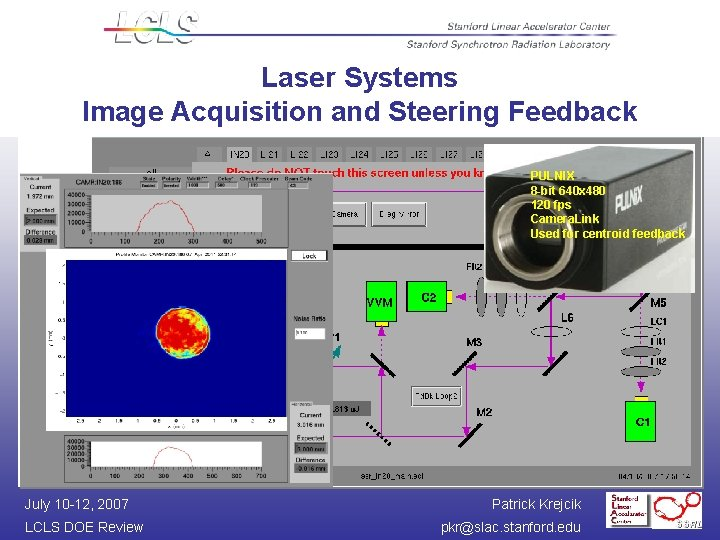 Laser Systems Image Acquisition and Steering Feedback PULNIX 8 -bit 640 x 480 120
