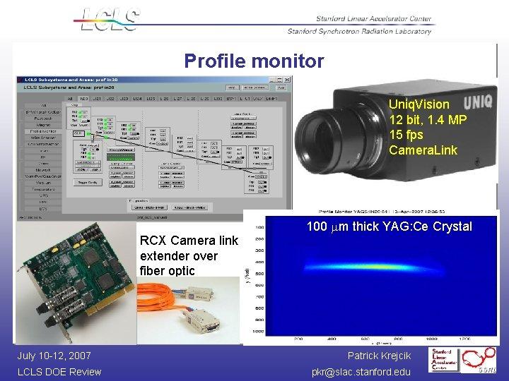 Profile monitor - control and diagnostics through EDM screens Uniq. Vision 12 bit, 1.