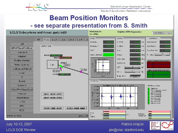 Beam Position Monitors - see separate presentation from S. Smith July 10 -12, 2007