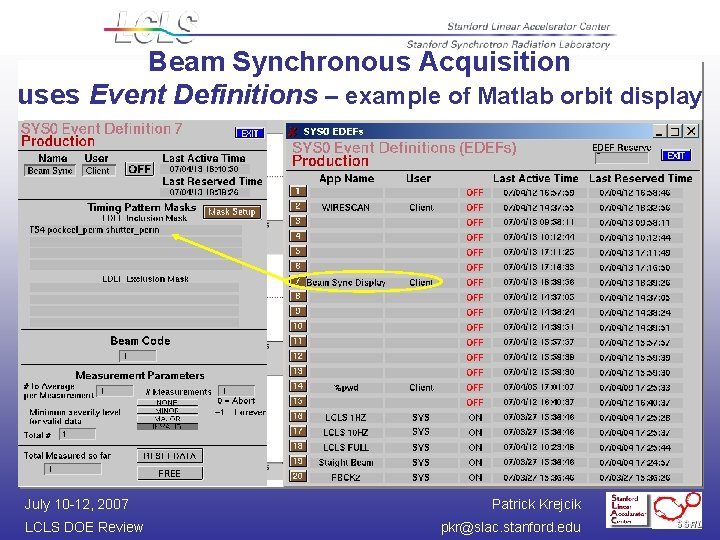 Beam Synchronous Acquisition uses Event Definitions – example of Matlab orbit display July 10
