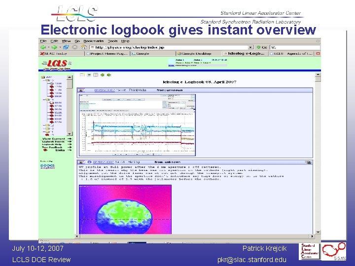 Electronic logbook gives instant overview July 10 -12, 2007 LCLS DOE Review Patrick Krejcik