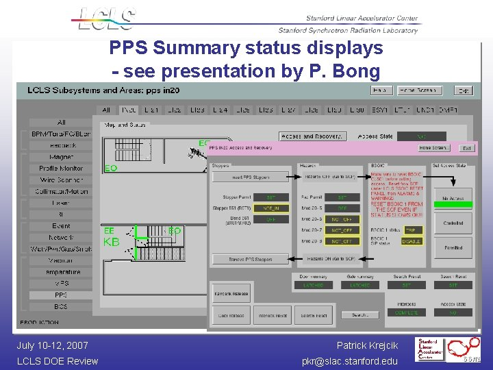 PPS Summary status displays - see presentation by P. Bong July 10 -12, 2007