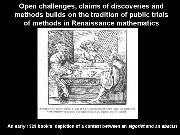 Open challenges, claims of discoveries and methods builds on the tradition of public trials