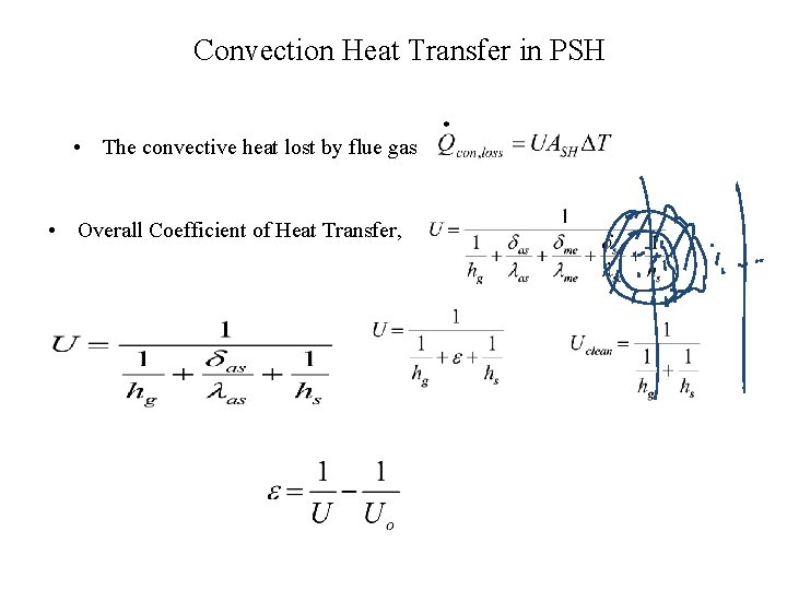 Convection Heat Transfer in PSH • The convective heat lost by flue gas •
