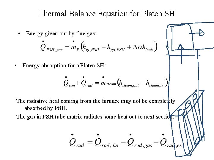 Thermal Balance Equation for Platen SH • Energy given out by flue gas: •
