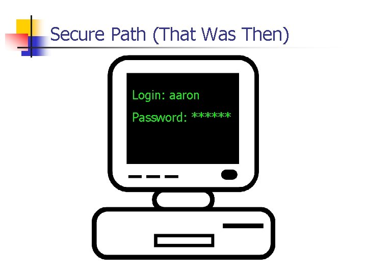 Secure Path (That Was Then) Login: aaron Password: ******