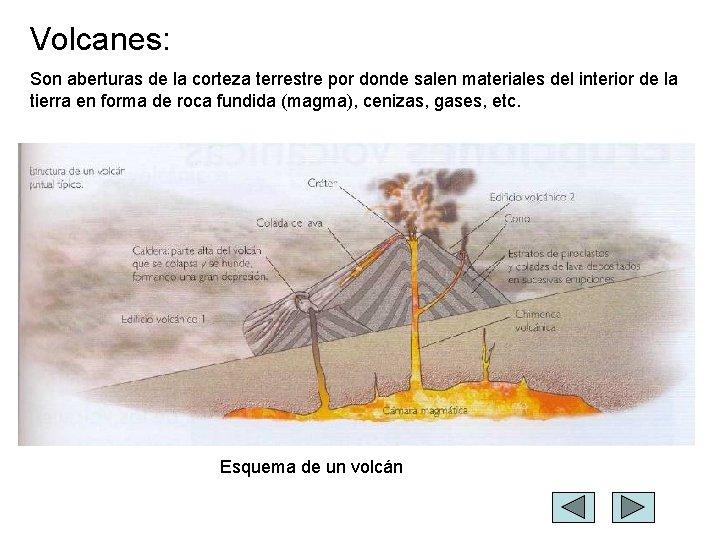Volcanes: Son aberturas de la corteza terrestre por donde salen materiales del interior de
