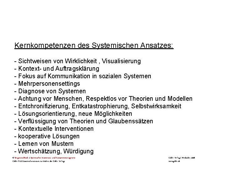 Kernkompetenzen des Systemischen Ansatzes: - Sichtweisen von Wirklichkeit , Visualisierung - Kontext- und Auftragsklärung