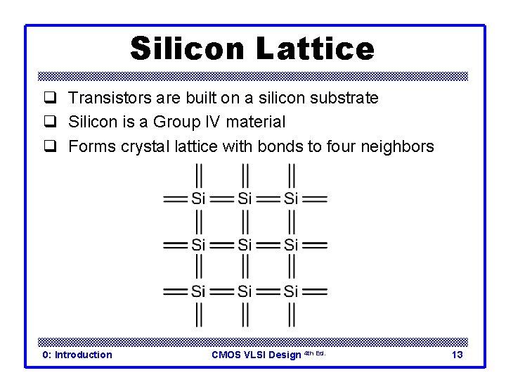 Silicon Lattice q Transistors are built on a silicon substrate q Silicon is a