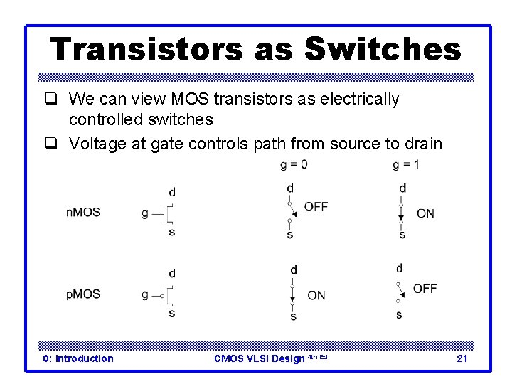 Transistors as Switches q We can view MOS transistors as electrically controlled switches q