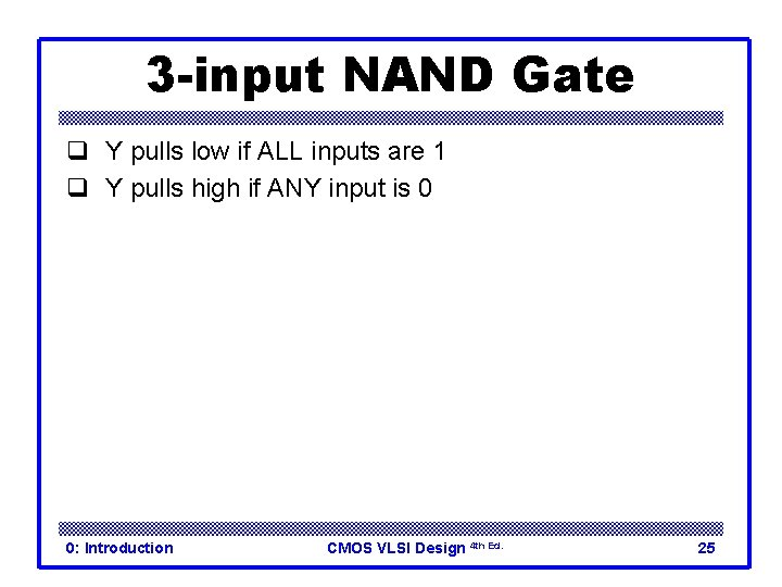 3 -input NAND Gate q Y pulls low if ALL inputs are 1 q