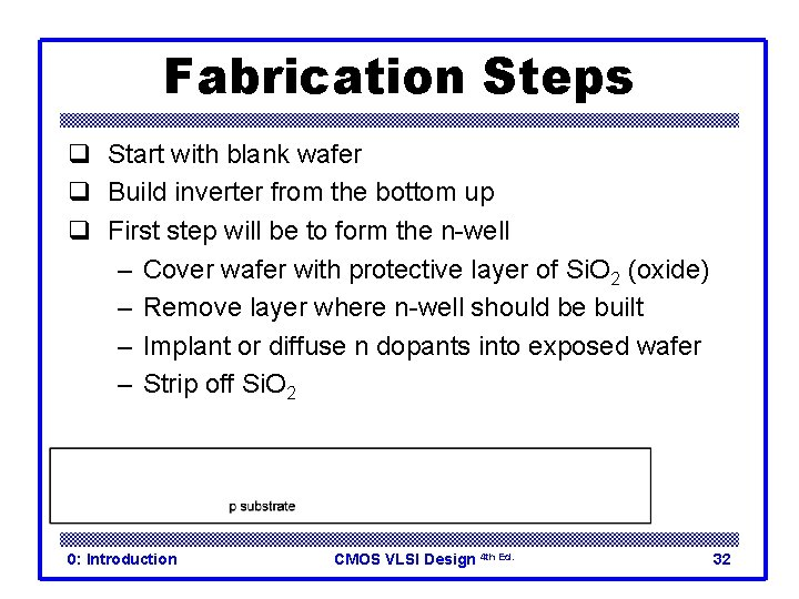 Fabrication Steps q Start with blank wafer q Build inverter from the bottom up