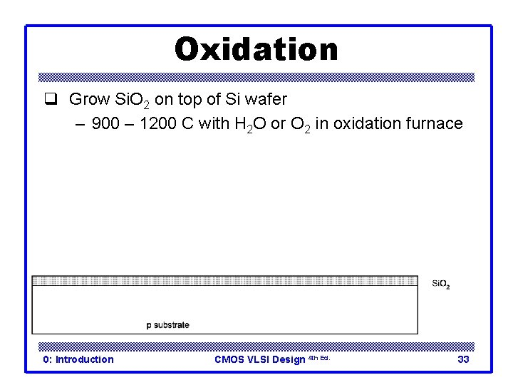 Oxidation q Grow Si. O 2 on top of Si wafer – 900 –