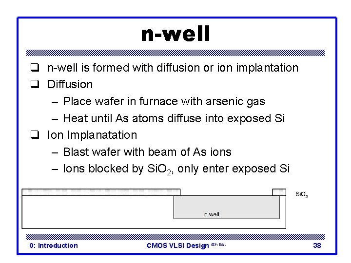n-well q n-well is formed with diffusion or ion implantation q Diffusion – Place