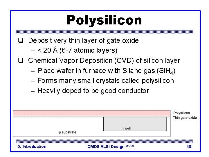 Polysilicon q Deposit very thin layer of gate oxide – < 20 Å (6