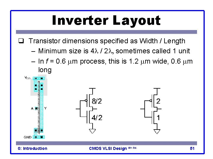 Inverter Layout q Transistor dimensions specified as Width / Length – Minimum size is