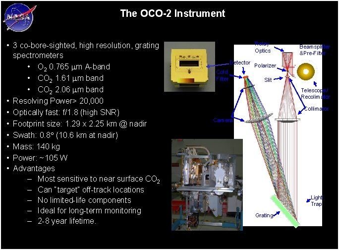 The OCO-2 Instrument • 3 co-bore-sighted, high resolution, grating spectrometers • O 2 0.