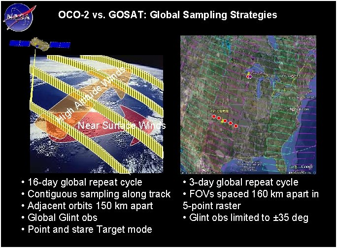 OCO-2 vs. GOSAT: Global Sampling Strategies s d n i gh i H tit