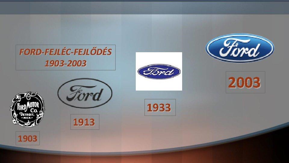 FORD-FEJLÉC-FEJLŐDÉS 1903 -2003 1933 1913 1903