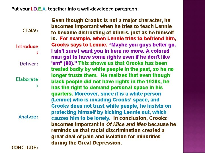 Put your I. D. E. A. together into a well-developed paragraph: CLAIM: Introduce :