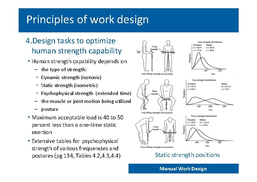 Principles of work design 4. Design tasks to optimize human strength capability • Human
