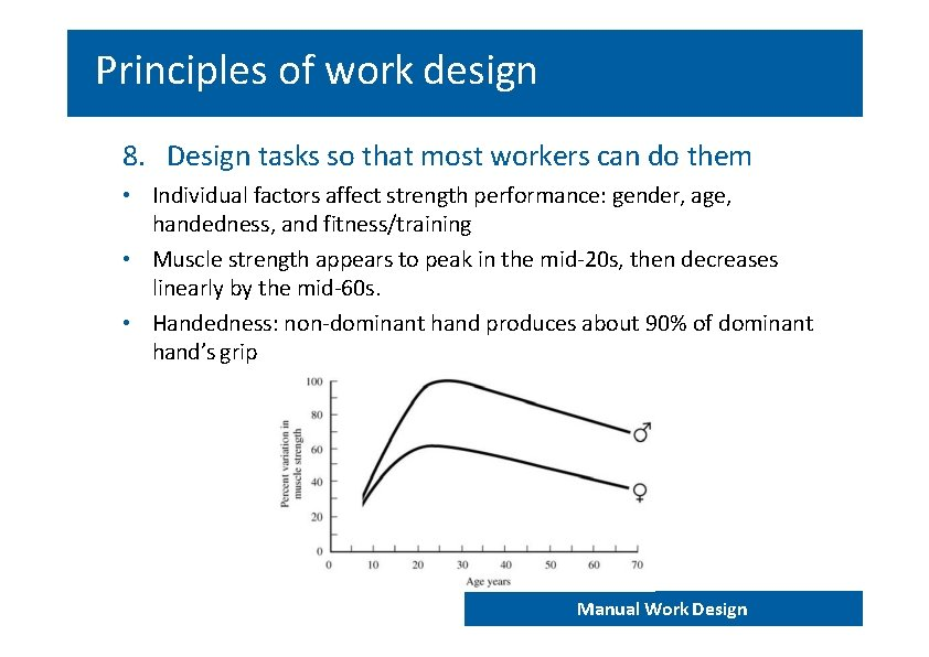 Principles of work design 8. Design tasks so that most workers can do them