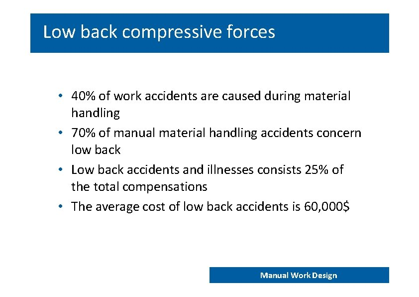Low back compressive forces • 40% of work accidents are caused during material handling